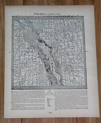 1890 Antique Map Of Heavens Stars / Equatorial 135 To 225 To 315 W. / Astronomy