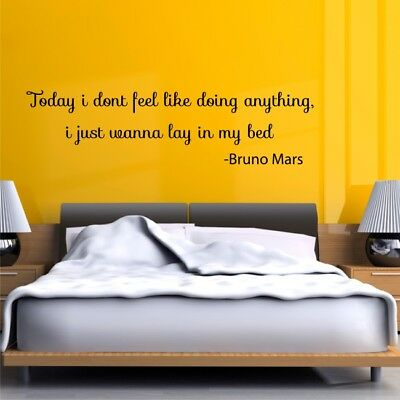 LAY IN MY BED Bruno Marsmusic lyrics wall quote bedroom teens decal