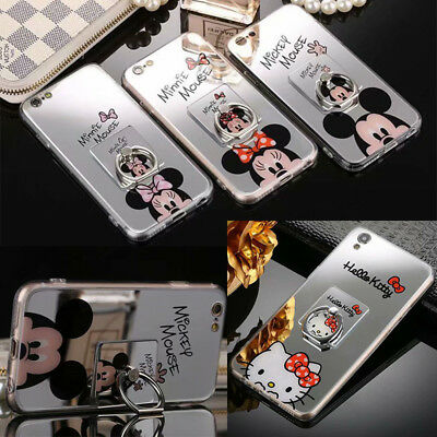 Mirror Ring Satnd Disney Soft TPU Case Cover For iPhone XS Max 6 7 Plus & S8+ S9