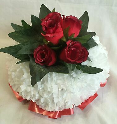 Artificial Silk Funeral Flower Posy Tribute Red Rose Memorial Wreath Small