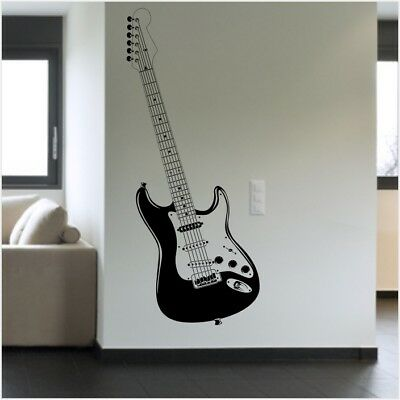 Stratocaster Guitar Wall Sticker Bedroom Living Room Music Wall Decal 10 99 Picclick Uk
