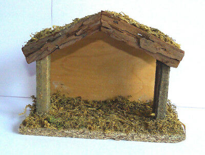 Vintage Rustic Wooden Christmas  Nativity Creche Stable Natural Wood Moss