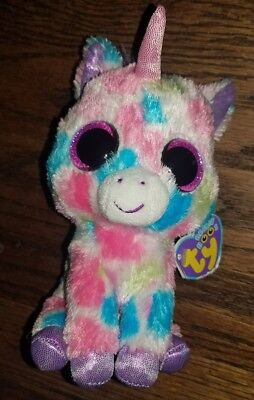389aaa56d40 TY BEANIE BOO WISHFUL UNICORN Medium Excellent Condition PURPLE Hang ...
