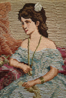 Figural Portrait of Young Beauty Needlepoint Canvas Fine Handmade Tramme