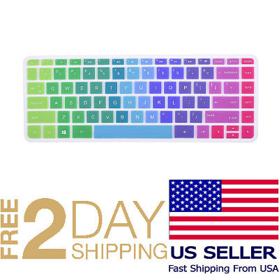 Colorful Keyboard Cover for HP Stream 14 Inch Laptop Protective Skin, Rainbow
