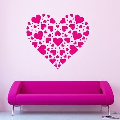 HEART wall sticker home kitchen decal hearts kids stickers love bedroom vinyl