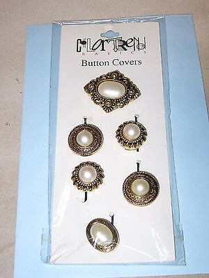 """""""""""victorian Design Button Covers"""""""" - New - Set Of 6"""