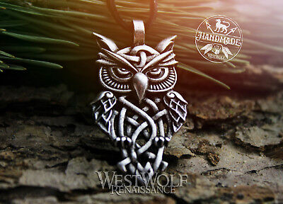 Viking or Celtic Wise Owl Pendant - Silver or Bronze - Norse/Knot/Bird of Wisdom