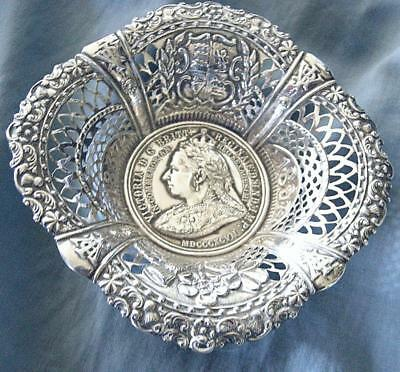 Fab.Sterling Silver Queen Victoria Commemmorative Pierced Dish 1897 60 Years
