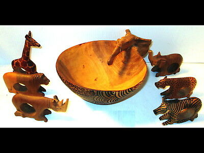 Carved Wood African Elephant Bowl Animal Napkin Rings Giraffe/Zebra/Lion/Rhino