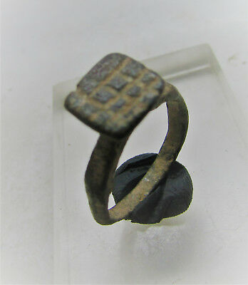 Finest Late Byzantine Early Medieval Bronze Seal Ring With Raised Bezel