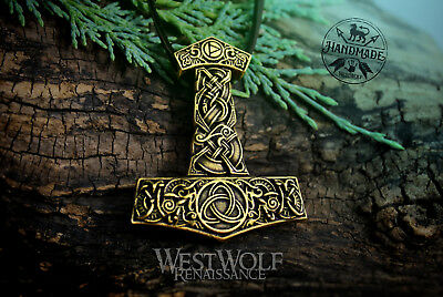 """Viking """"Mjolnir"""" Thor Hammer Pendant with Triquetra and Dragon Designs - Bronze"""