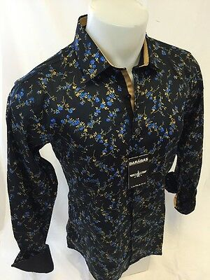 Mens BARABAS Designer Shirt Woven BLACK With FLORAL Button Up SLIM FIT NWT 4320