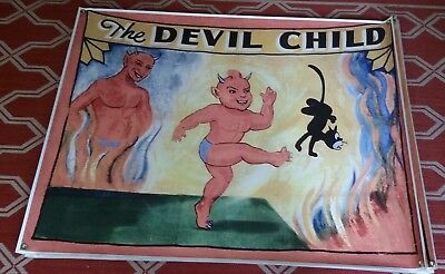 Modern Vinyl Circus Sideshow The Devil Child Reproduction Banner Black Cat