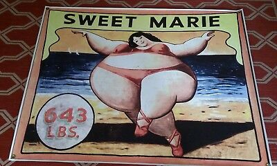 Modern Vinyl Circus Sideshow Sweet Marie Reproduction Banner Fat Lady
