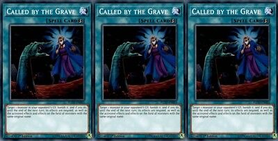 YUGIOH 3x Cards Called by the Grave FLOD-EN065 Common 1st Edition Playset
