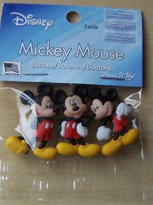 Disney - Mickey Mouse - Dress It Up Buttons - Crafts - 3 Pieces