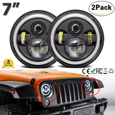 "2x 7"" Pouces LED Phares Avant Angel Eyes Halo DRL Clignotant pour Jeep Wrangler"