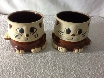Hand Made Brown And Cream CAT PLANTER Set Of 2 SUPER CUTE, Very UNIQUE MUST HAVE
