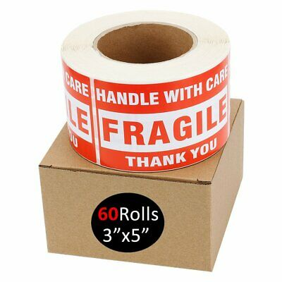 60 Rolls 500/Roll 3x5 Fragile Stickers Handle with Care Shipping Mailing Labels