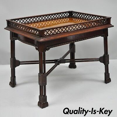 Mahogany Chinese Chippendale Style Small Coffee Table Burl Wood Inlay & Fretwork