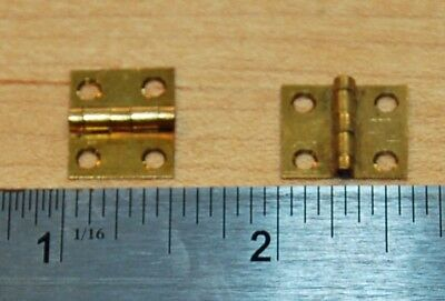 "Pair of Vintage Small Brass Hinges - 1/2"" x 5/8"" - Scovill Mfg. Co. - Antique"