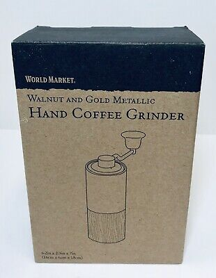 Walnut Wood Manual Coffee Grinder with Gold Handle by World Market