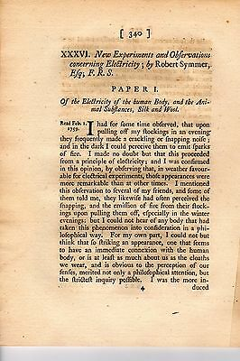 New Experiments and Observations Concerning Electricity, by Robert Symmer - 1759