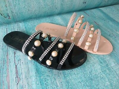 """New Women """"Arizona"""" Jelly Sandals Slides w/Pearls and Rhinestones by Ann More"""
