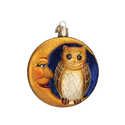 """Owl in Moon"" (26064)X Old World Christmas Glass Ornament w/OWC Box"