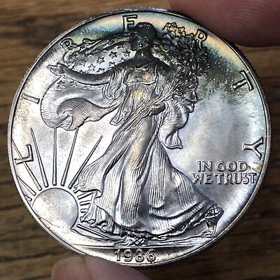 1986 Silver Eagle 1st Year KEY DATE Gorgeously TONED Uncirculated STUNNING!
