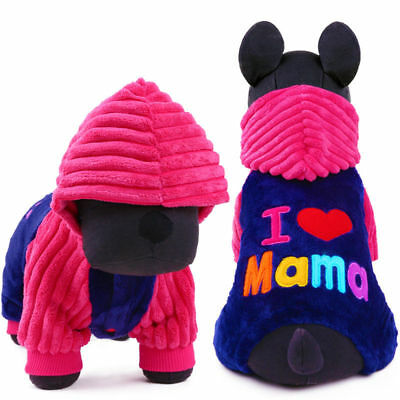 Love Mama Dog Clothes Jumpsuit Warm Fleece Small Pet Cat Puppy Coat Pajamas Cute