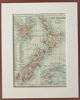 New Zealand Map - Antique c.1900 Mounted Colour Map