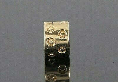 $410 14K Solid Yellow Gold Pandora Abstract Spots Clip Bracelet Charm