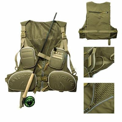 Multi-pocket Fly Fishing Vest  Adjustable One-size-fit-all Size