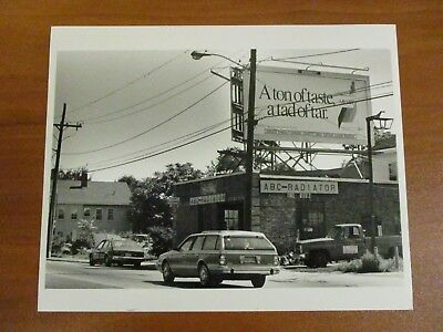 Vtg Glossy Press Photo Natick MA Billboard & ABC Radiator Rt. 135 East 9/13/88