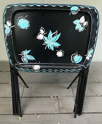 Set 3 Vtg Metal TV Trays Black Turquiose Tole Flowers with Stand Mid Century Mod