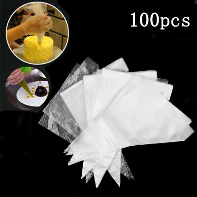 100PCS Extra Thick Disposable Piping Bag Icing Cake Cream Decor Pastry Tip Tool