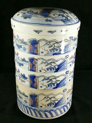 """Lot Of 4 Antique Chinese Pottery Stacking Food Storage Or Serving Bowls 10"""" FINE"""