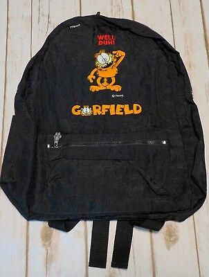 "Vintage Mead Garfield ""Well Duh!"" Paws Black Nylon Zipper Backpack"