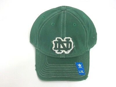 3a6b1aa9f70 NOTRE DAME FIGHTING Irish Green Distressed Slope Fitted Hat By adidas