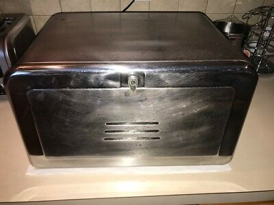 Vintage Shiny Metal Counter Top Bread Box w/ shelves & cutting board