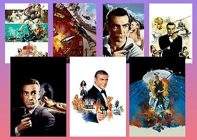 Sean Connery JAMES BOND 007 Thunderball etc  Textless Movie Posters A5 A4 A3
