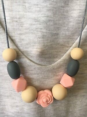 Silicone Sensory (was teething) Necklace for Mum Gift Aus Sell Pink Jewellery