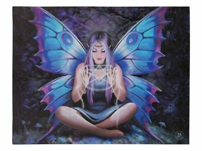 "Anne Stokes ""Spell Weaver"" Large 40x30cm Fairy Canvas Wall Art Plaque Wicca"