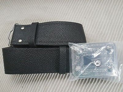 Scottish  Leather Kilt  Belt +Buckle Highland Wear adjustable waist S,L,M,XL