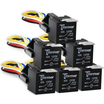 6Pcs DC 12V Car SPDT Automotive Relay 5 Pin 5 Wires w/Harness Socket 30/40 Amp