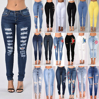 New Women Ripped Distressed Skinny High Waisted Denim Pants Jeans Trousers Lot