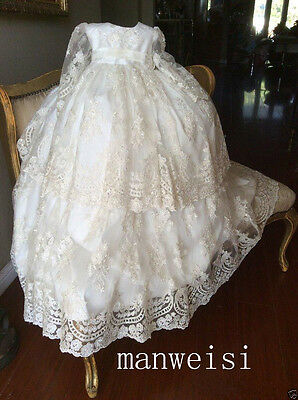 Vintage Christening Gown Long Sleeve Lace Antique Toddler Baby Baptism Dress