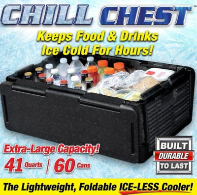 CHILL CHEST Ice-Less Cooler KEEP FOOD&DRINK Lightweight Foldable As Seen On TV
